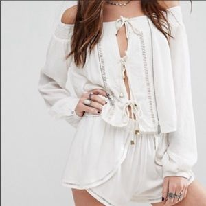 Lovers + friends XS white off the shoulder top